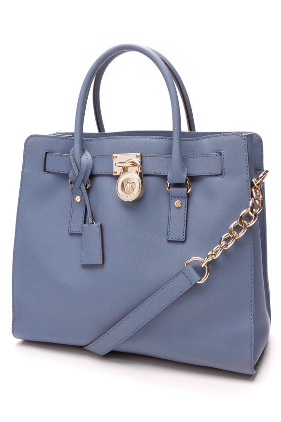 Michael Kors Large North/South Hamilton Tote Bag Blue Saffiano Leather