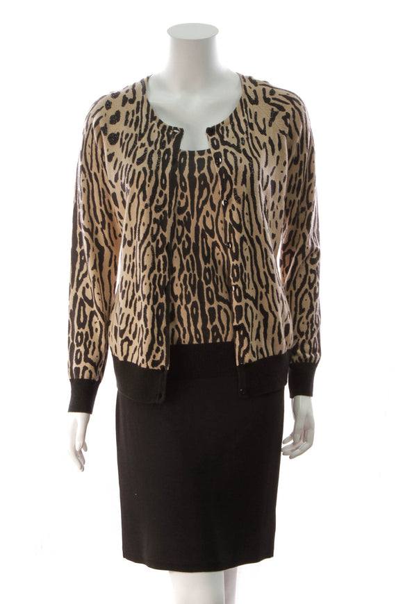 Escada Leopard Sweater Set Tan