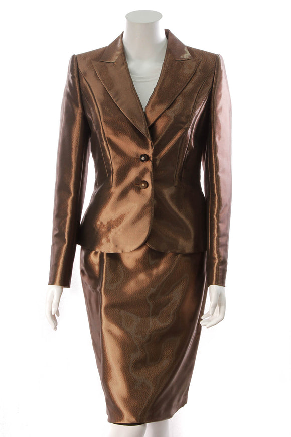 Escada Shiny Skirt Suit Brown