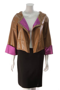 Escada Nappa Leather Short Jacket Brown  Size 36