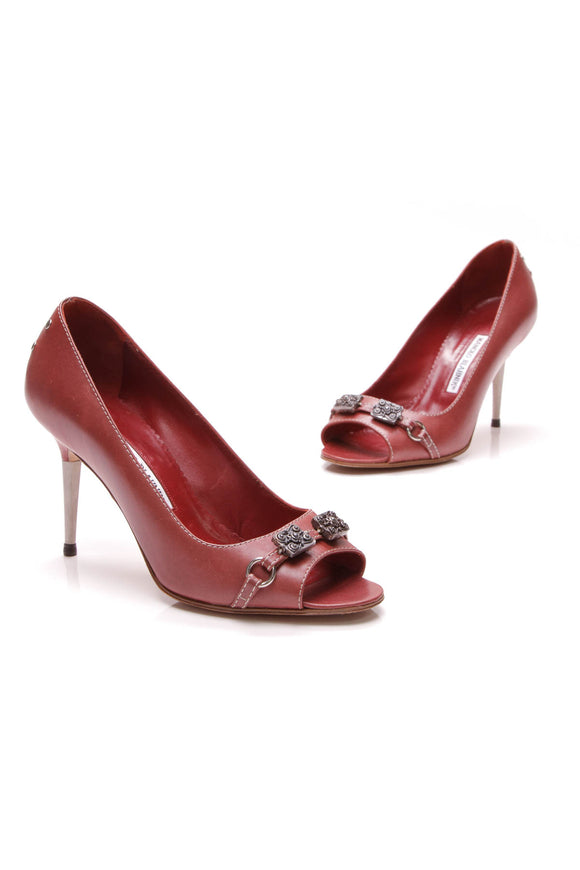 Manolo Blahnik Jeweled Peep Toe Pumps Red Size 37.5