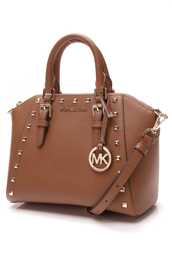 Michael Kors Studded Ciara Bag Tan Saffiano Leather