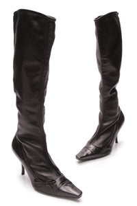 Chanel Bow Knee High Boots Black Leather Size 38