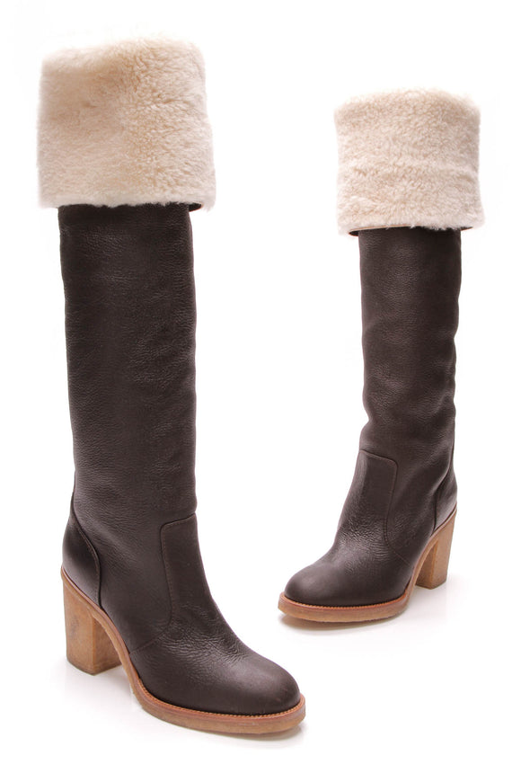 Chanel Shearling Lined Knee High Boots Brown Leather Size 38