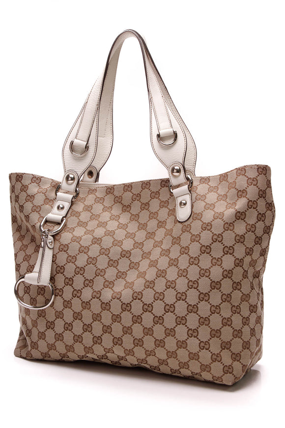Gucci Icon Bit Medium Tote Bag Signature Canvas Ivory Beige