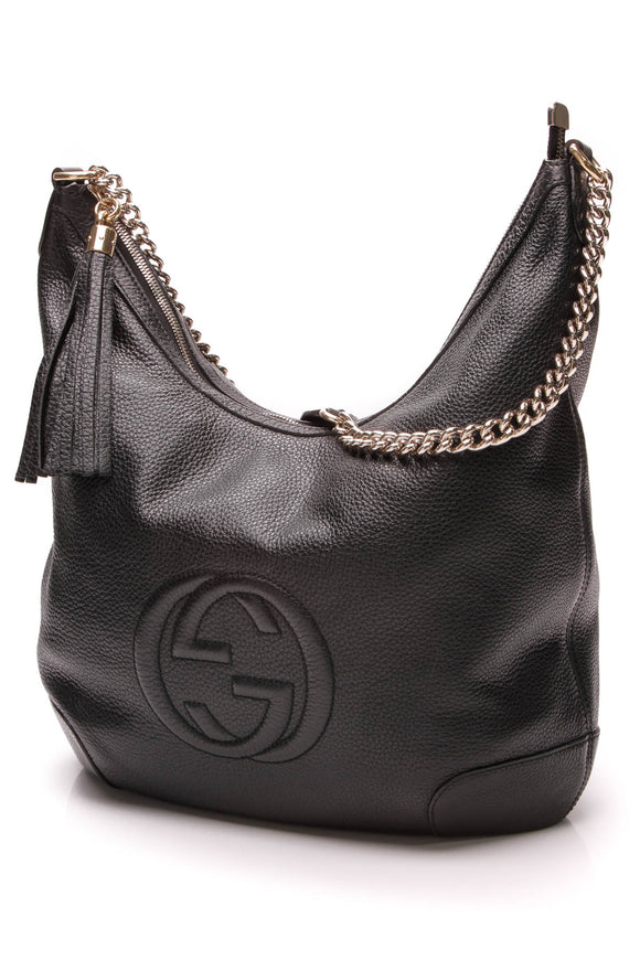 Gucci Soho Chain Shoulder Bag Black Leather