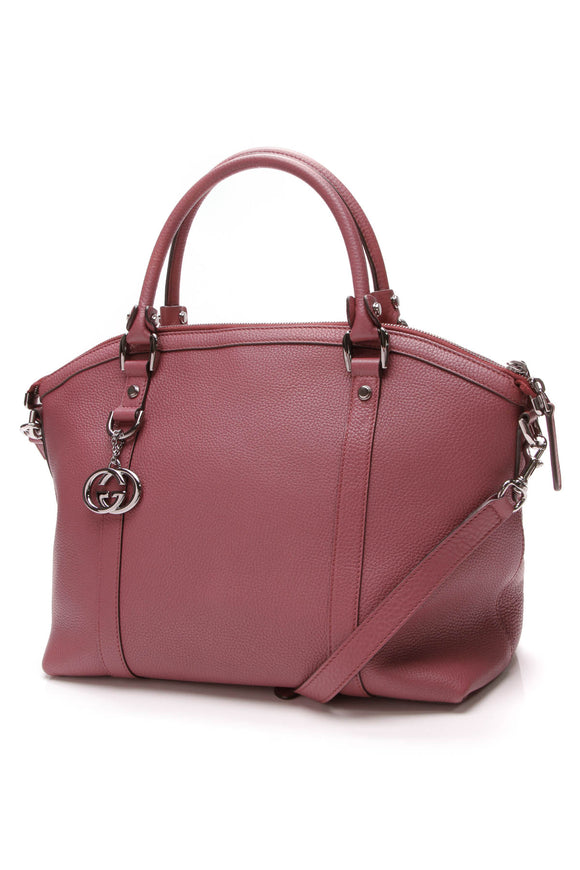 Gucci Convertible Charm Dome Satchel Bag Pink Leather