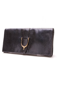 Gucci Soft Stirrup Clutch Bag Metallic Python Blue