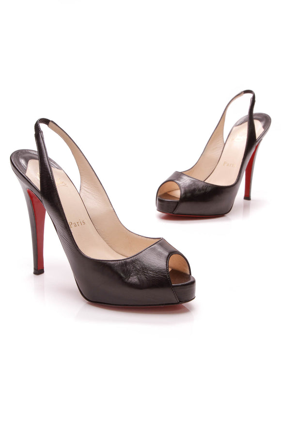 Christian Louboutin No Prive Slingback Pumps Black Leather Size 36.5