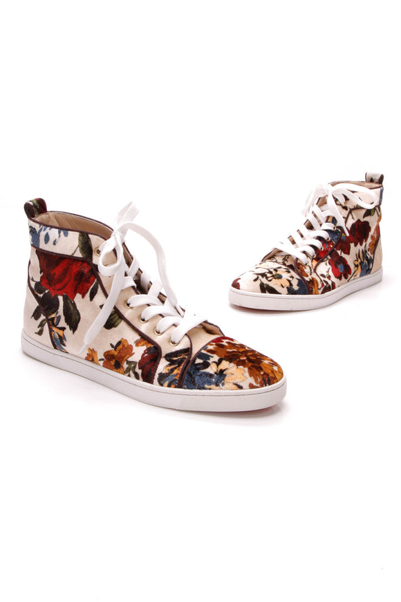 Christian Louboutin Bip Bip High-Top Sneakers Velvet Size 40.5 Multicolor Floral