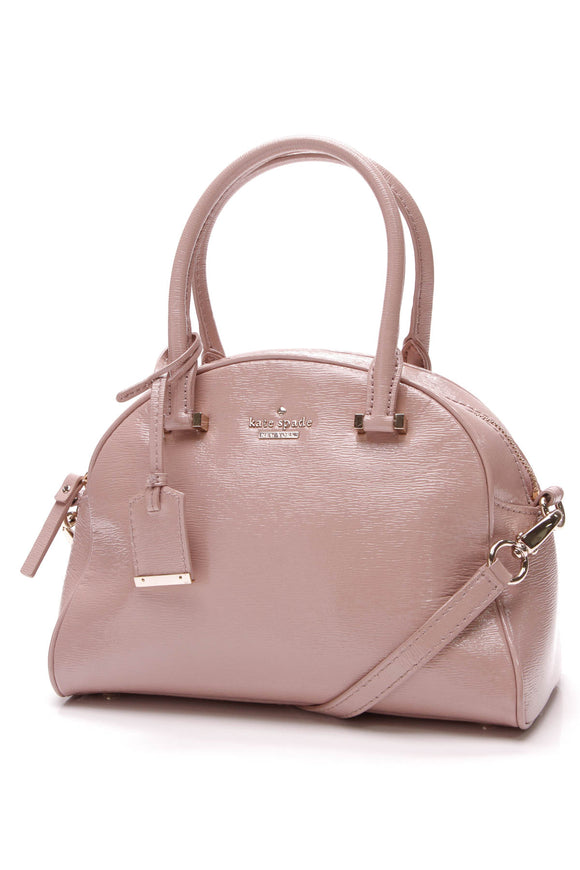 Kate Spade Cedar Street Small Pearl Satchel Bag Patent Leather Blush Pink
