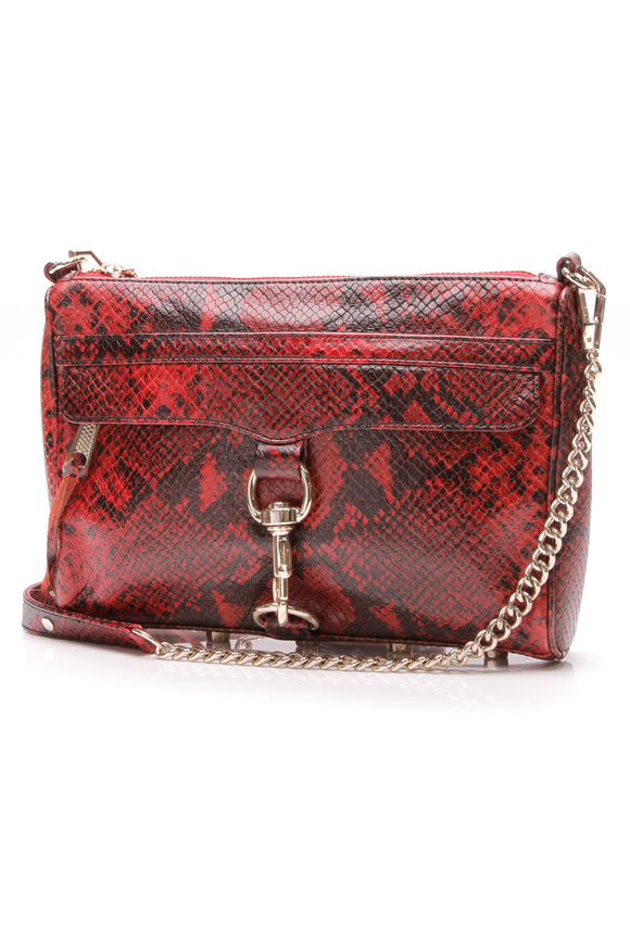 Rebecca Minkoff M.A.C. Crossbody Bag Snake Embossed Leather Red