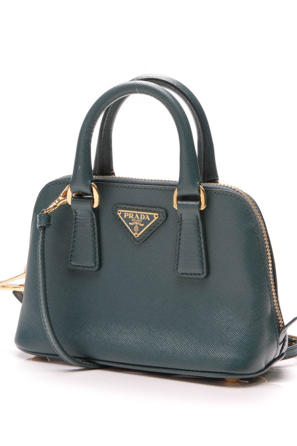 Prada Micro Dome Satchel Bag Saffiano Leather Blue Teal