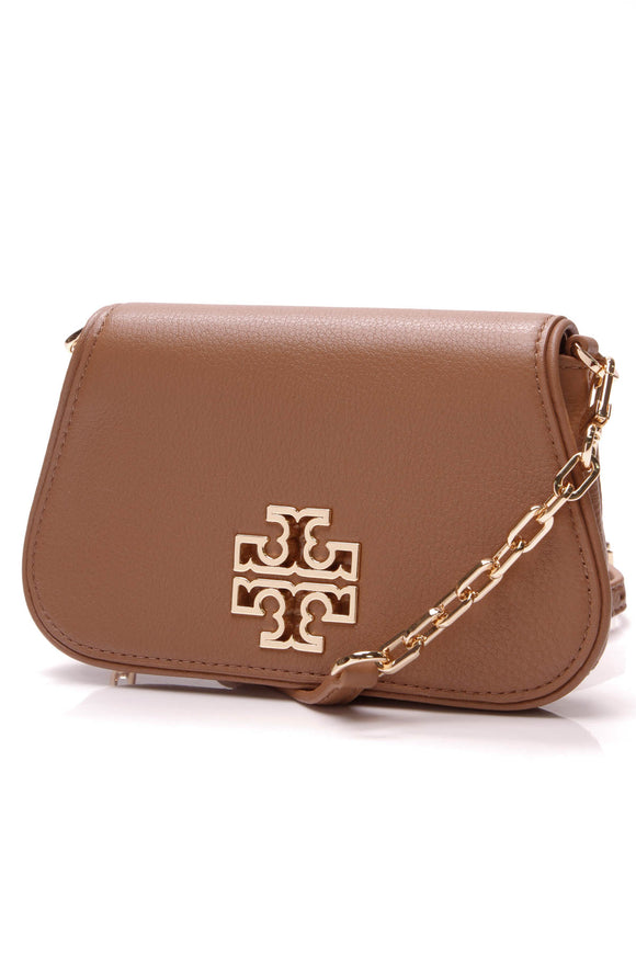 Tory Burch Britten Mini Crossbody Bag Leather Tan