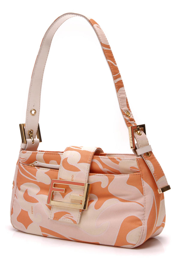 Fendi Mini Baguette Shoulder Bag Printed Canvas Orange