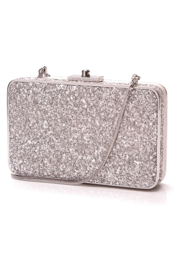 Henri Bendel Starter Box Clutch Bag Silver Glitter