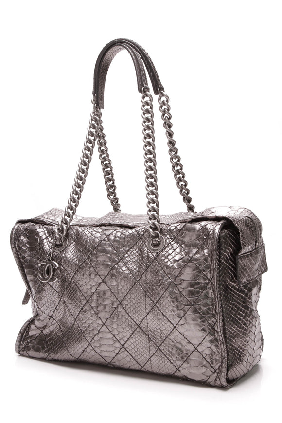Chanel Camera Shoulder Bag Metallic Python Grey Silver