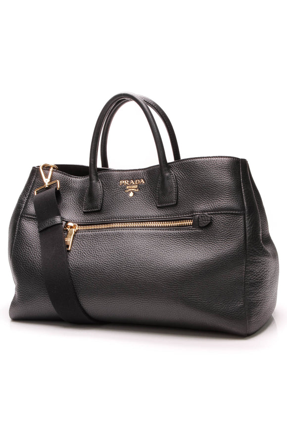 Prada Vitello Daino Tote Bag Nero Black