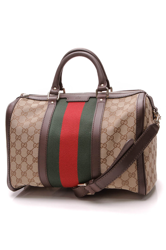 Gucci Vintage Web Medium Boston Bag Signature Canvas Leather Brown