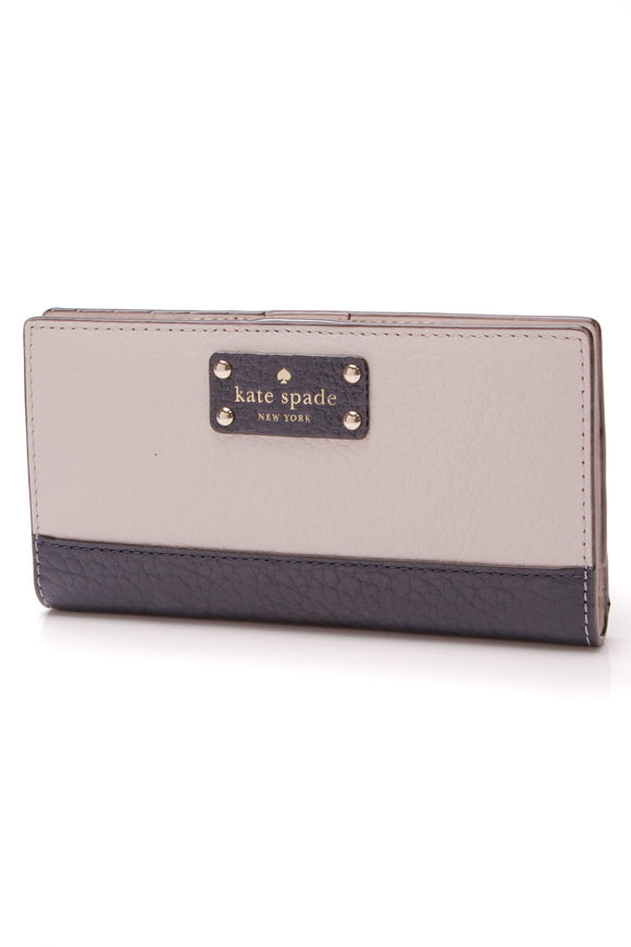 Kate Spade Bay Street Stacy Wallet Beige Navy