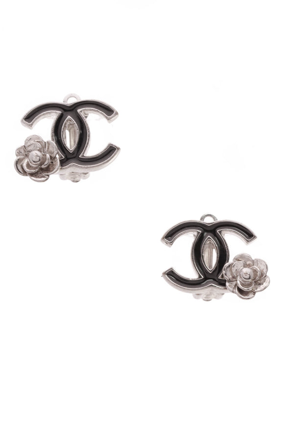 Chanel CC Camellia Clip-On Earrings Silver Black