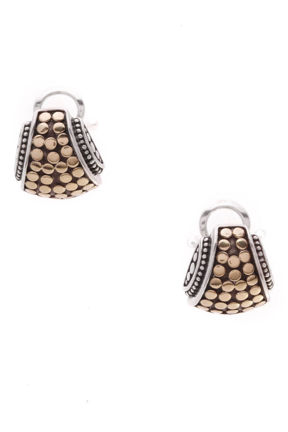 John Hardy Classic Dot Curved Cuff Earrings Silver Gold