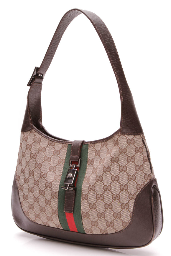 Gucci Web Jackie Hobo Bag Signature Canvas Brown