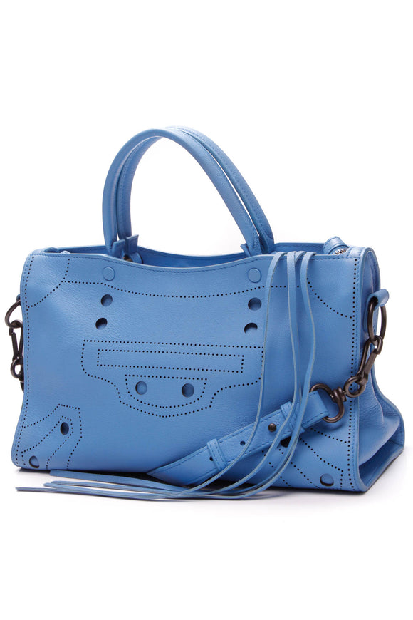 Balenciaga Blackout City Small Shoulder Bag Blue Leather