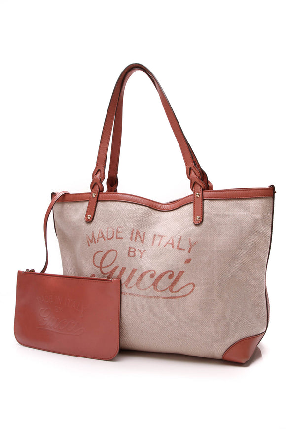 Gucci Craft Original Tote Bag Natural Canvas