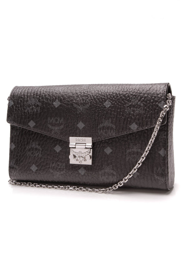 MCM Millie Wallet On a Chain Bag Black Visetos Canvas