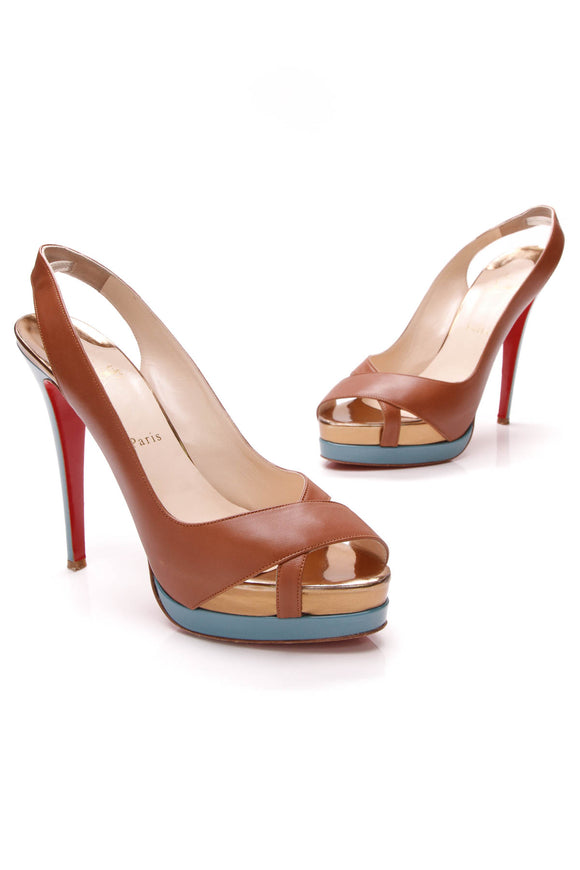 Christian Louboutin Very Croise Platform Sandals Brown Size 40.5