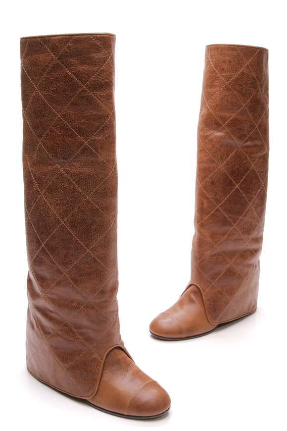 Chanel Quilted Knee High Boots Brown Leather Size 40