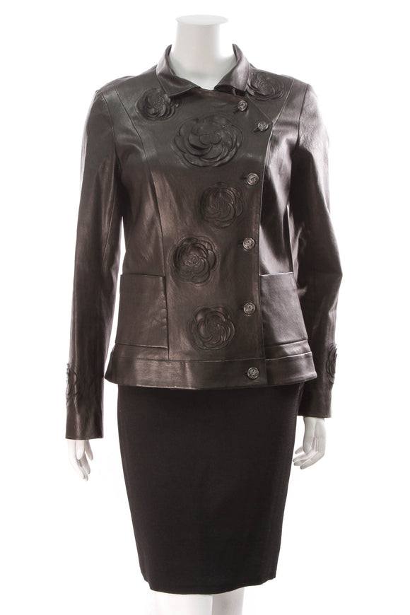 Chanel Paris-Shanghai Camelia Jacket Lambskin Size 42 Black