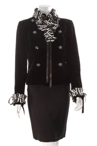 Chanel Velvet Bow Jacket Black Size 44