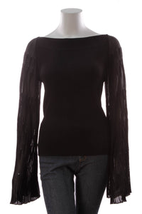 Chanel Bell Sleeve Top Black Size 42
