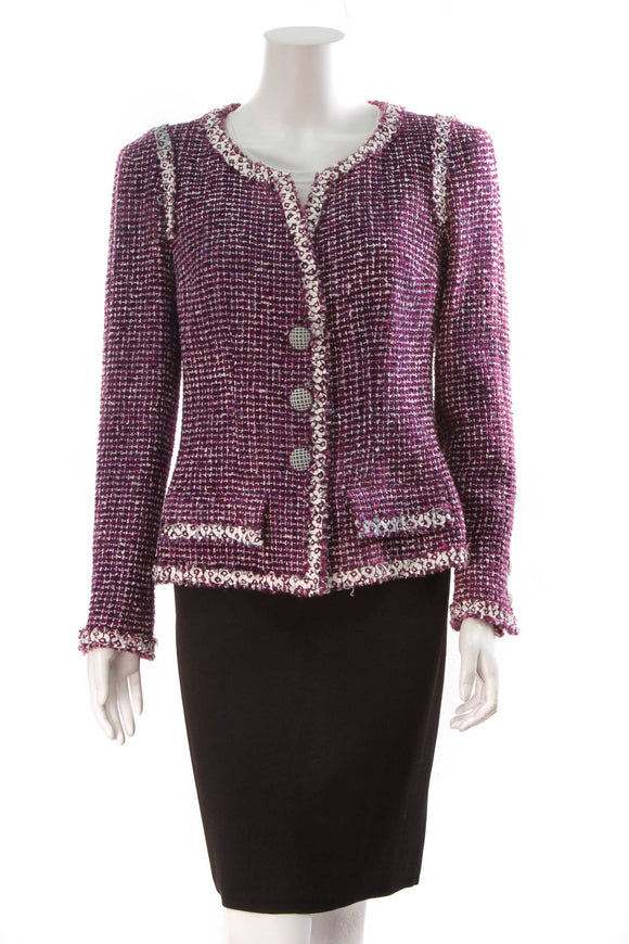 Chanel Tweed Jacket Purple Size 42