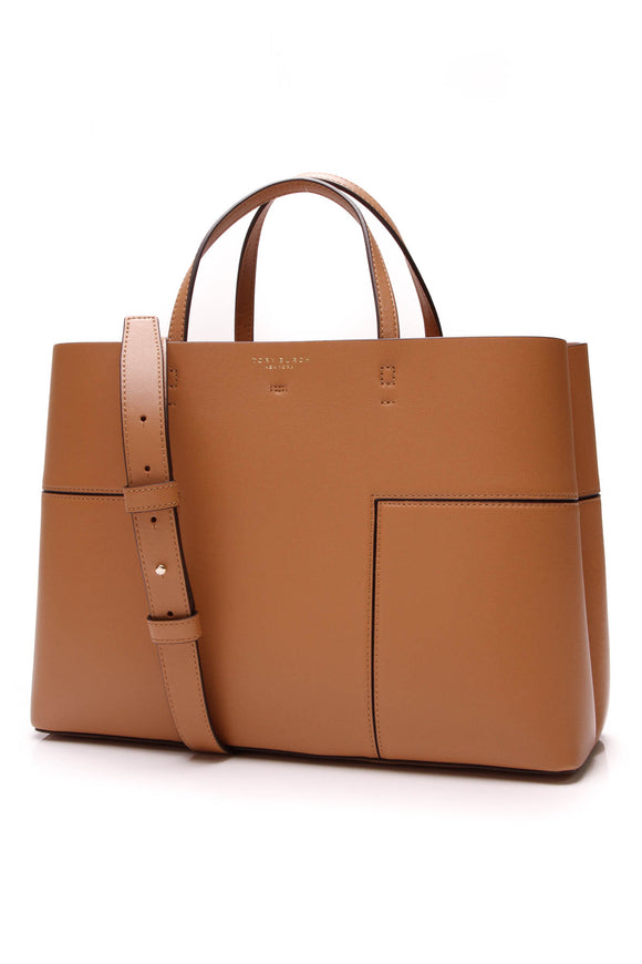 Tory Burch Large Block T Tote Bag Camel Leather