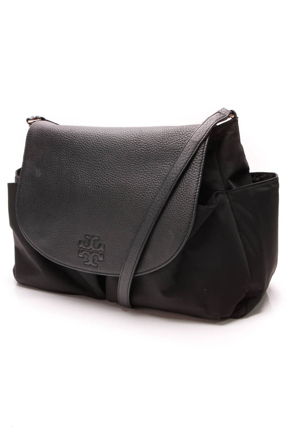 Tory Burch Thea Messenger Baby Bag Black Nylon Leather