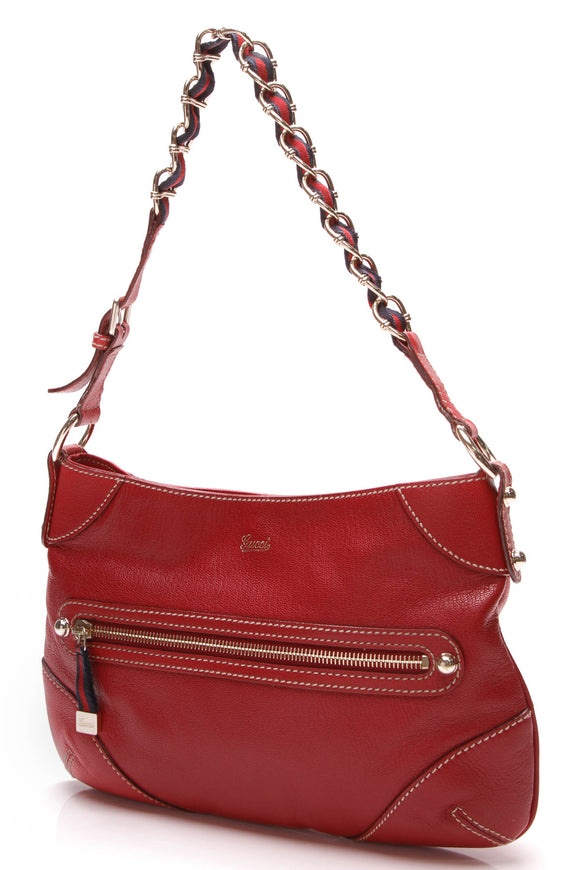 Gucci Small Capri Shoulder Bag Red Leather