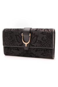 Gucci Brocade Stirrup Continental Wallet Black Suede