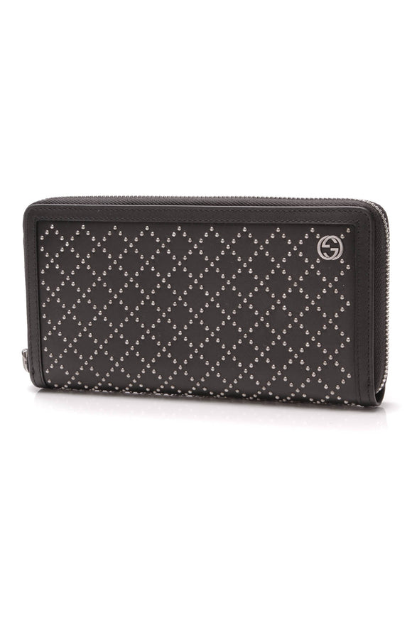 Gucci Diamante Stud Zip Around Wallet Black