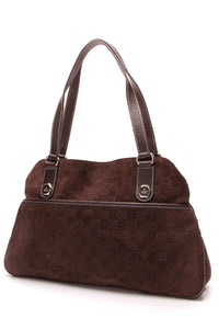 Gucci Charmy Shoulder Bag Brown Guccissima Suede