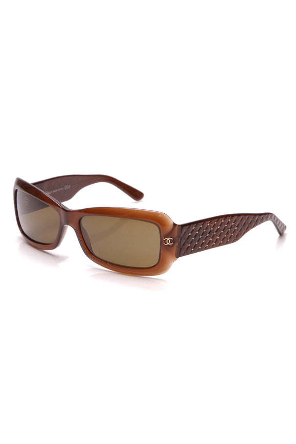 Chanel Studded Quilt Sunglasses 5099 Brown