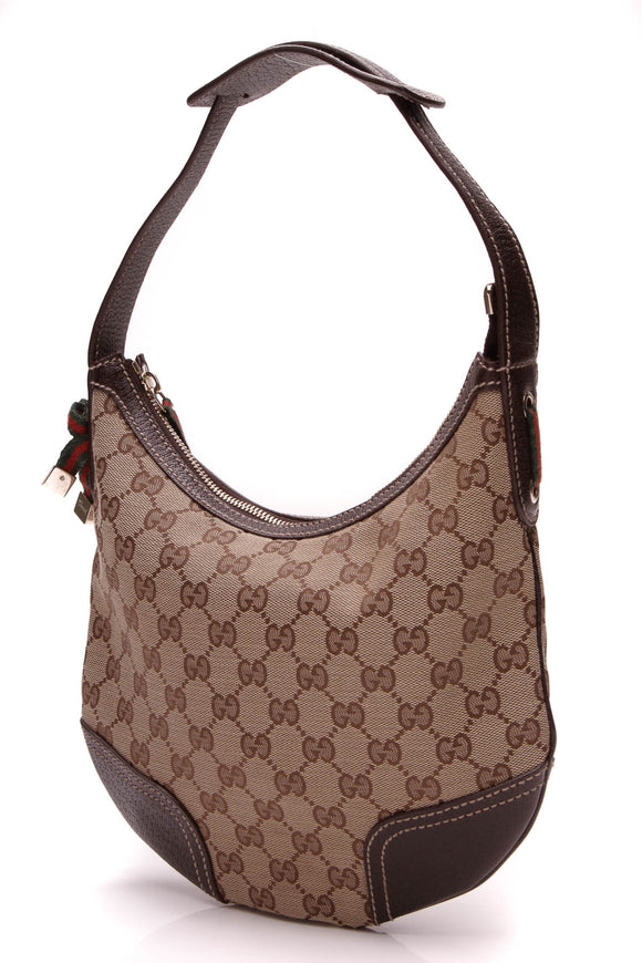 Gucci Small Princy Hobo Bag Signature Canvas Brown