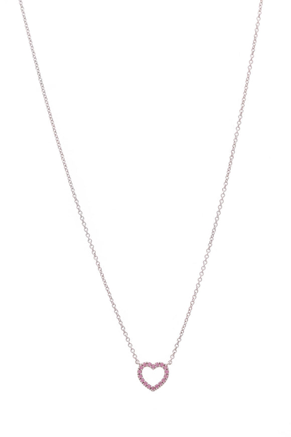 Tiffany & Co. Pink Sapphire Metro Heart Pendant Necklace White Gold