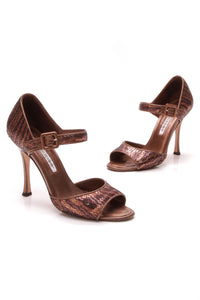 Manolo Blahnik Sequin Peep Toe Pumps Brown Size 38