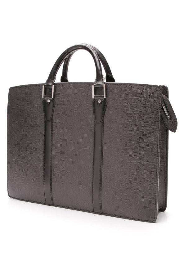 Louis Vuitton Lozan Briefcase Black Taiga Leather