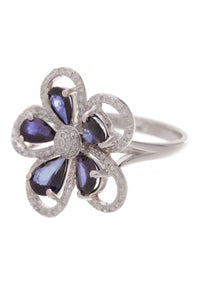 Effy Sapphire & Diamond Flower Ring White Gold Size 6.75
