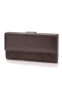 Gucci Continental Wallet Signature Denim Brown
