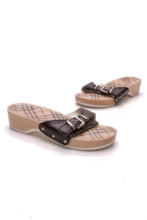 Burberry Buckle Slide Sandals Wood Size 37